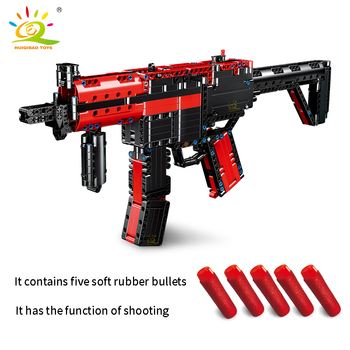moc upgraded electric motor power toys compatible brands high tech mp5 submachine gun model building block diy brick boys gifts HUIQIBAO TOYS 676Pcs MP5 Submachine Weapon Gun Model Building Blocks set Technic Bricks City Military DIY Toys For Children boy