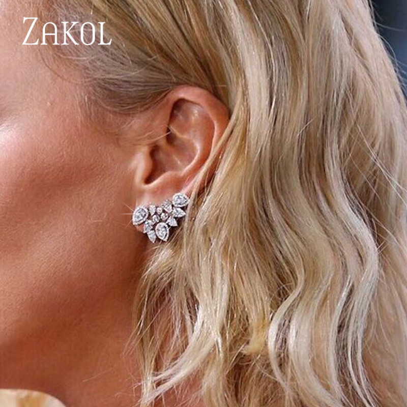 ZAKOL Cute White Gold Statement Flower Stud Earrings Jewelry With CZ Zirconia Crystal For Women Christmas Gift FSEP2028
