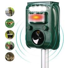 Jardim movido a energia solar ultra-sônico ao ar livre animal repeller movimento pir sensor de luz flash cão gato guaxinim coelho animal dispeller