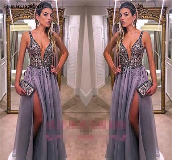 Elegant Spaghetti Straps Tulle A Line Evening Dresses Beaded Stones Split A Line Formal Party Prom Dresses 129