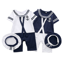 Baby Boy Set Navy Clothing Newborn Girl Jumpsuit + Hat Summer Short Sleeve Cotton Infant Clothes 3-24M Bodysuit