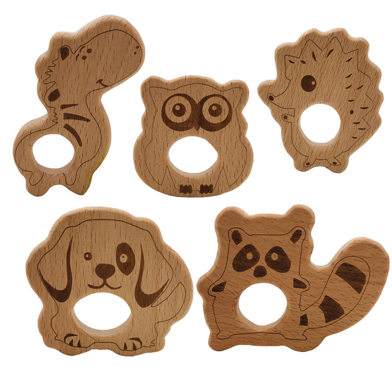 Baby Wooden Teethers Food Grade Beech Wooden Teether Newborn Animals Accessories Kid Teething Necklace Pendant Nursing Toys Gift