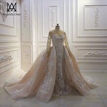 Robe de mariee 2020 uzun kollu dantel aplike şampanya ayrılabilir etek düğün elbisesi