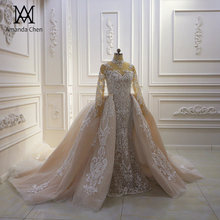 robe de mariee 2020 Long Sleeve Lace Appliqued Champagne Detachable Skirt Wedding Dress