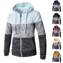 Новейший мужской повседневный эластичный свитер на молнии, пальто, верхняя одежда, свитер для бега на молнии, Мужской осенне-зимний свитер с капюшоном J717