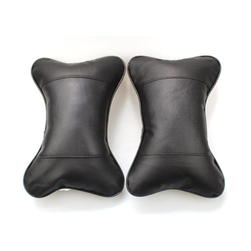 Leather 25x17x9cm Cushion Cotton Silk Neck Pillow Headrest Accessories 2pcs Kit