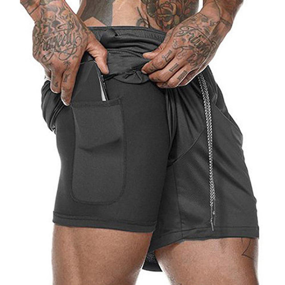Running Shorts Gym Fitness Jogging Sport Men Summer 2-In-1 Fall Quick-Dry title=