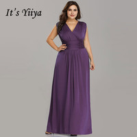 It's Yiiya Evening Dress V neck Elegant Women Party Dresses Sleeveless Robe de Soiree Plus Size Floor Length Formal Gowns C430