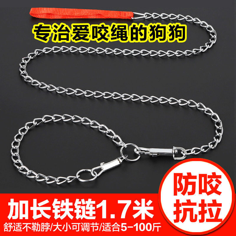 Pet Dog Hand Holding Rope Iron Chain Teddy Golden Retriever Dog Rope Dog Chain Small Medium Large Dogs Neck Ring