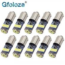 Gfoloza lâmpadas led t4w ba9s, 10 peças, branco 4014 15-smd t11 h6w, luz interior do carro, leitura/porta/lâmpada 12v para porta-malas/apuramento