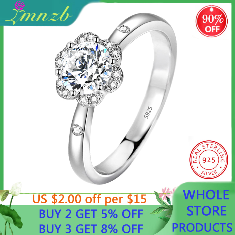 LMNZB 2020 New Arrival Elegant Flower Engagement Ring Wedding Jewelry 925 Sterling Silver 6mm CZ Zircon Rings for Women LR369