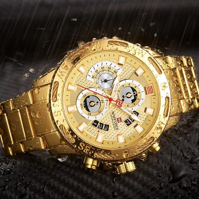 NAVIFORCE Luxury Brand Mens Sport Watches Gold Waterproof Military Clock 8