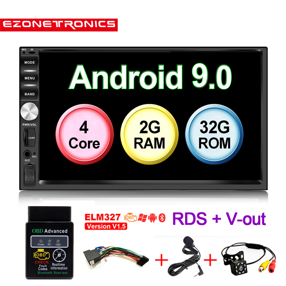 Auto OBD2 7inch Android9 Quad Core 2G+32G Universal <font><b>2Din</b></font> no dvd Car Audio Stereo GPS Navigation Radio Kits Car Multimedia play image