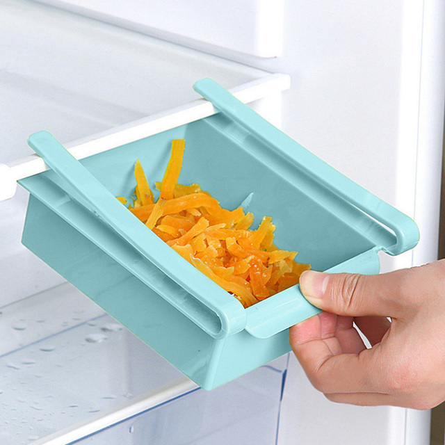 Kitchen Fridge Freezer Slide Drawer Type Space Saver Food Fruit Egg Storage Organizer Rack Shelf Holder Plastic Storage Drawers