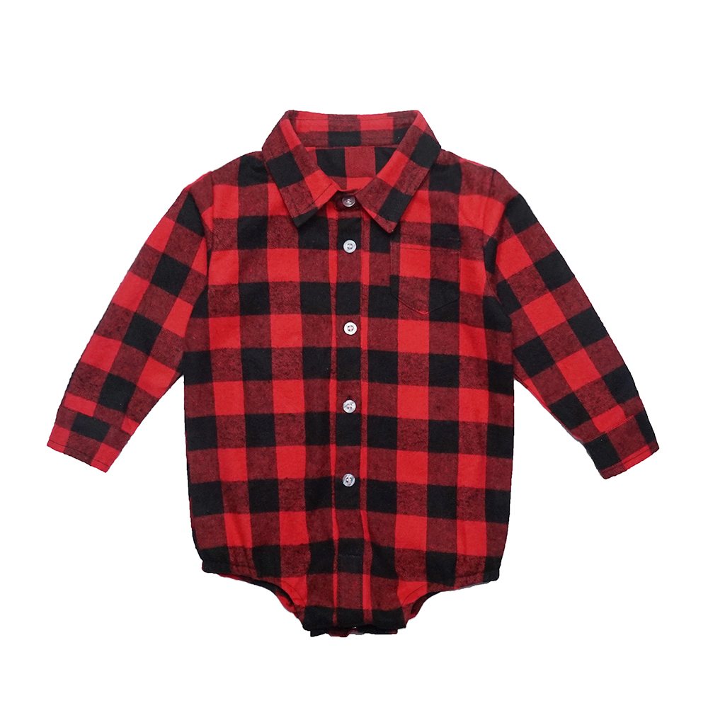 Unisex Autumn Spring Baby Girls Boys Clothes Christmas Plaid Rompers Toddler Newborn Baby Fits One Piece Suit