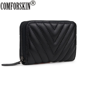 COMFORSKIN100% Genuine Leather Card Holder New Arrivals Geometric Sheep Skin Card Wallets European And American Women Card Case(China)
