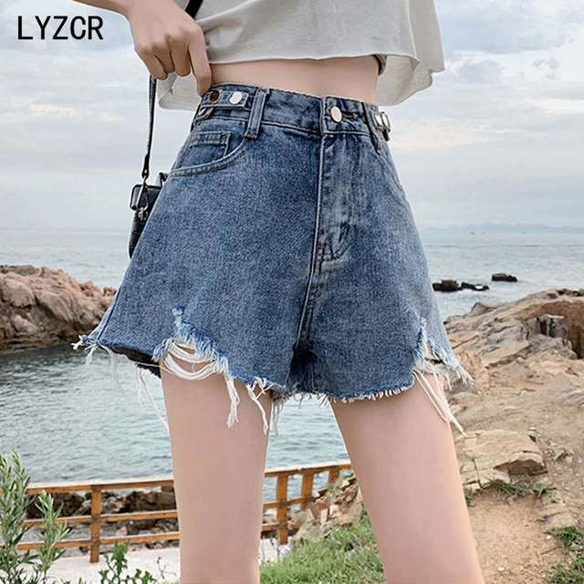 LYZCR Ripped Jeans Shorts Women Summer Loose Denim Wide Leg Shorts For Women with Belt Harem Ladies Jeans Short Causal New 2021 1
