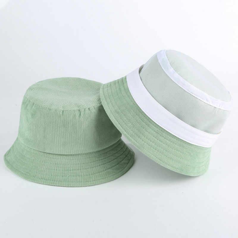 Puste sztruksowe kapelusz typu Bucket Hip Hop Casual wiosenna jesień wędkarstwo kapelusz słońce stałe rybacy Sunhat rodzic-dziecko plaża Panama