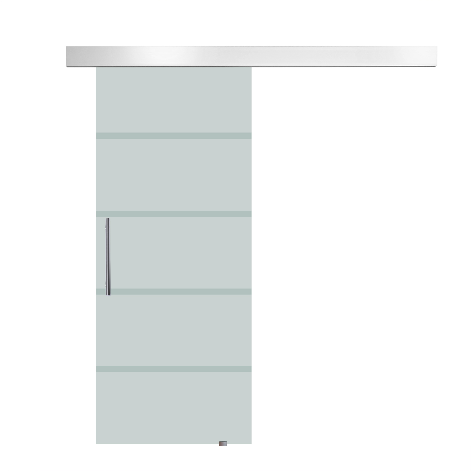 HOMCOM sliding door interior frosted glass with track and handle for bathroom kitchen study 205x77.5x0.8cm image