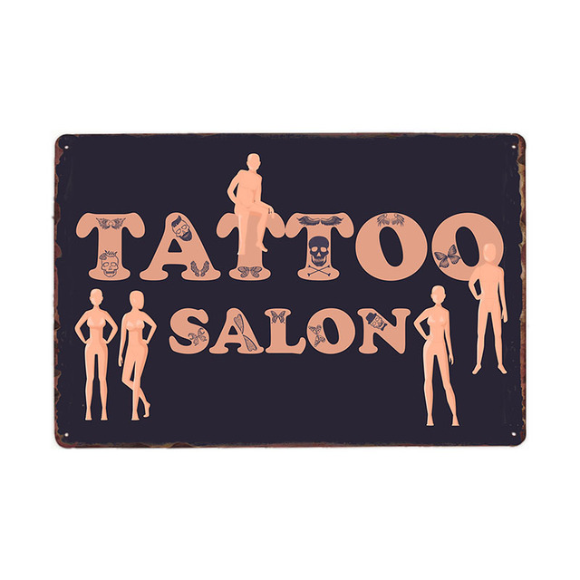 Tattoo Shop Decor Poster Vintage Metal Tin Sign Studio Wall Decoration Plaque Art Painting 20x30 CM