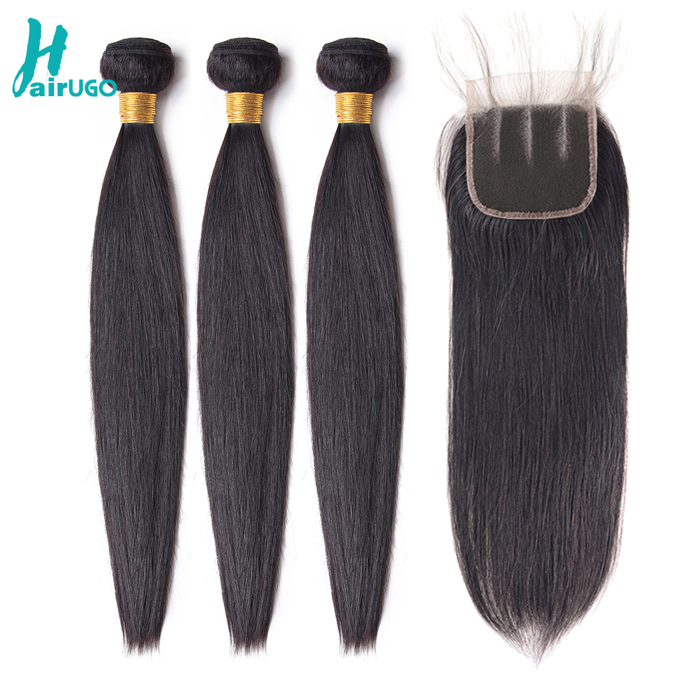 HairUGo Peruvian Straight Hair 3 Bundles With Closure Non Remy Human Hair Bundles With Closure Natural Color Hair Weave 8-28Inch