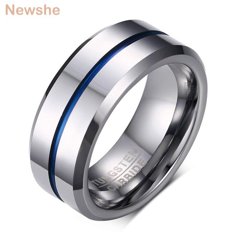Newshe hommes alliance tungstène anneaux rainure anneau carbure bleu ligne 8mm taille 7-13 bijoux à la mode