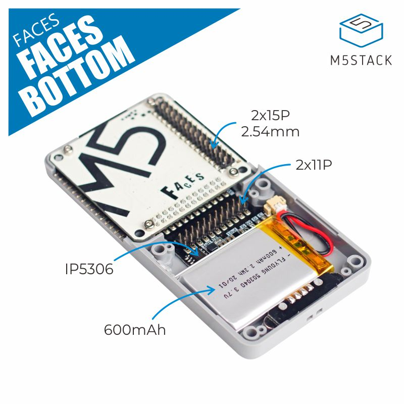 M5Stack Official FACES BOTTOM Multi-Function Panel Base With M-BUS Pin Header  I2C Protocol 600mAh Battery Pogo Pin Contact