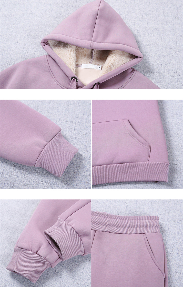2019 Winter Thicken Sport Two Piece Sets Outfits Women Plus Size Hooded Sweatshirts And Pants Suits Casual Fashion Tracksuits 54