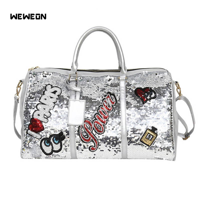 Sequins Sport Bag Women's PU Gym Travel Tote Bags Stylish Embroidery Handbag Perfume Lady Girl Workout Weekend Duffel Luggage