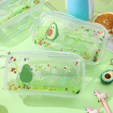 Cute avocado Pencil Case Transparent Quicksand Peach Pink Cases Girl large capacity stationery Bags portable cosmetic bag