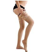 Женские эротические Эластичные заклепки сексуальные новые ажурные чулки в сетку для женщин облегающие высокие детали выше колена прозрачные AD0806