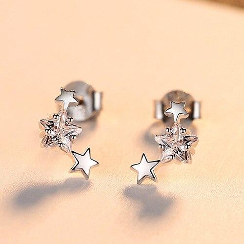 PAG & MAG nouveau 925 boucles d'oreilles en argent Sterling étoile Zircon boucles d'oreilles femme mode simple petit pentagramme femme bijoux - 5