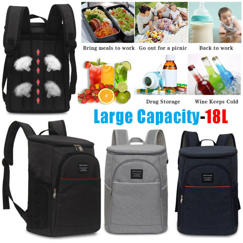 18 L Large Capacity Insulation Bag Picnic Cooler Tote Solid Food Fresh Keeping Wine Lunch Bags Package Bottle Thermal Shoulders