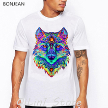 Rainbow color wolf shirt men animal print tee shirt homme cool streetwear summer tops clothes mens tshirt hip hop t shirt sexy lady and sphinx cat print vintage t shirt men summer tops tee shirt homme aesthetic clothes mens tshirt streetwear t shirt