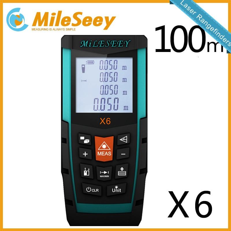 MILESEEY Waterdichte Laser Afstandsmeter Afstand Meten X6 100M Afstandsmeter Elektronische Meetinstrumenten