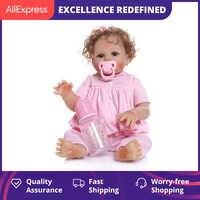 NPK-Muñeca Reborn Original de 46CM, muñeco de bebé de silicona suave completa, reborn, chica de pelo rizado, juguete de baño para bebé realista a prueba de agua