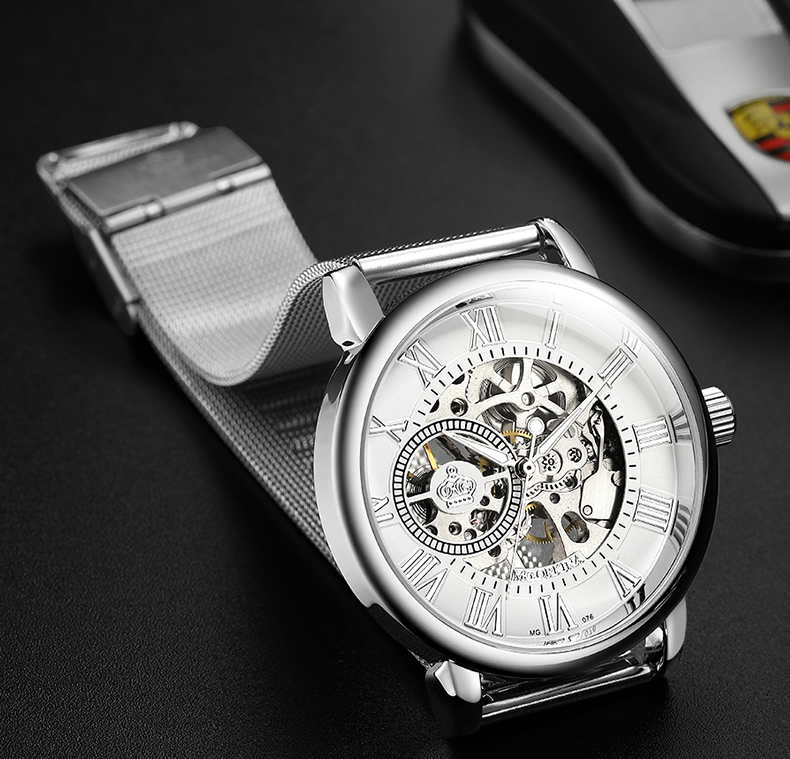 Hc6823bab3056453fa3c5e484ce6d0623I Coupons Sale Men Watches Mechanical Hand Wind Luxury Top Brand ORKINA Skeleton Stainless Steel Bracelet Mesh Strap Men's Watches