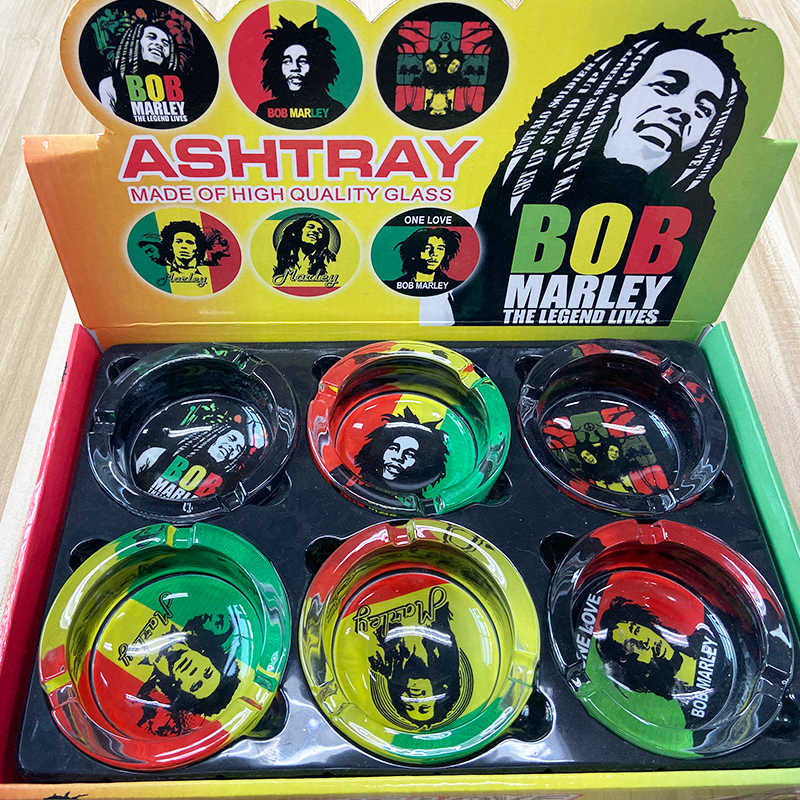 Klasik sigara küllüğü Jamaika Bob Marley Moda Cam Puro Küllük Sigara Ot Sigara Kül Tablaları Butik Hediye Erkekler Için