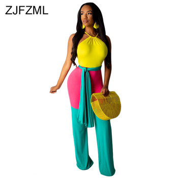 цена на Contrast Color Sexy Sleeveless Romper Women Backless Loose Wide Leg Jumpsuit 2020 Summer Halter One Piece Plus Size Bodysuits