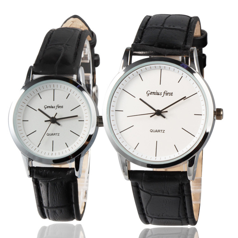 New Lover Watches Simple Leather Watch Round Diamond Crystal Dial Couples Casual Style WristWatch For Lovers Birthday Gift 2019