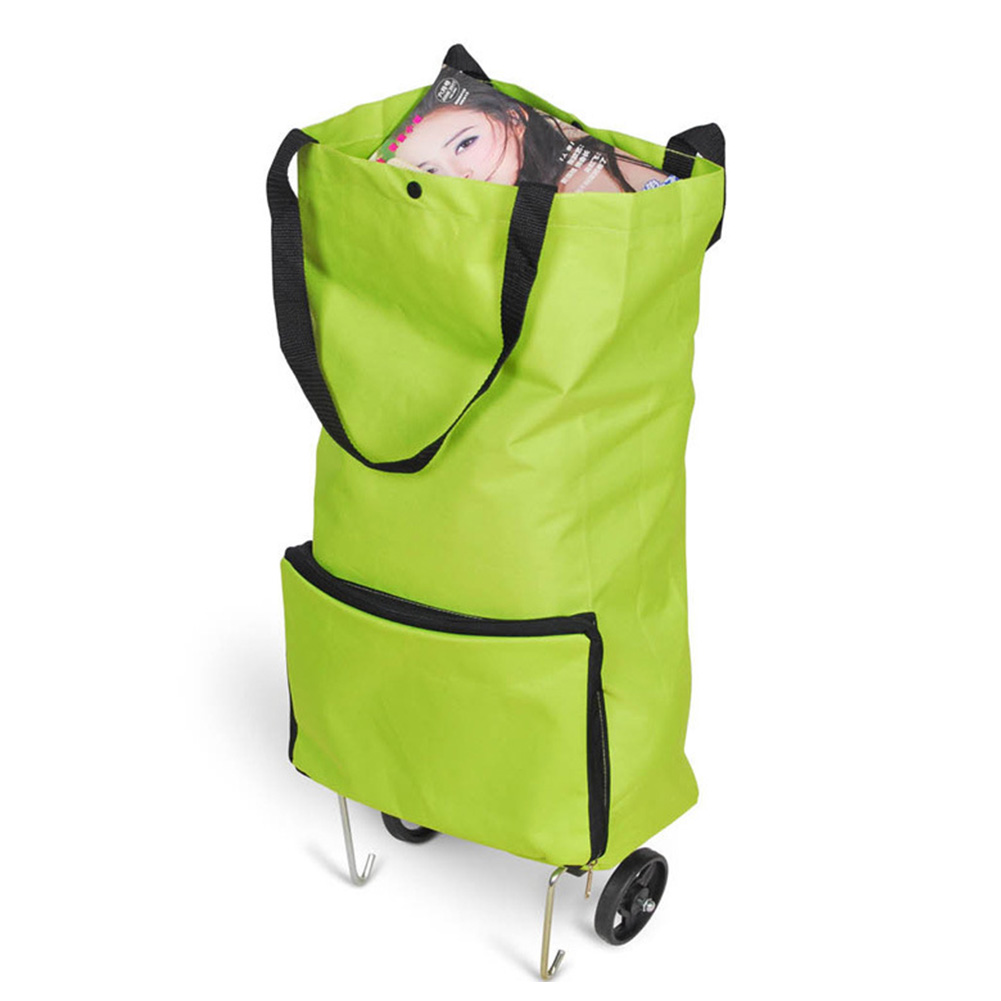Supermarket Large Capacity Bag Package Portable With Wheels Tug Shopping Cart Organizer Oxford Cloth Foldable Home Multifunction