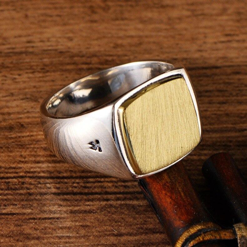 Véritable solide 925 argent Sterling hommes Signet OM anneaux Simple lisse conception Mantra bouddhiste bijoux - 6