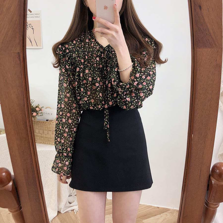Hc6826fa13f21486fa9b2c932402a0514B - Spring / Autumn Lace-Up Collar Long Sleeves Floral Print Blouse