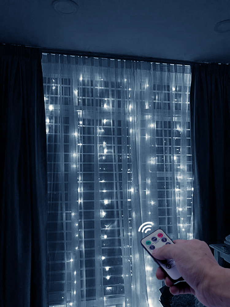 USB LED String Lights New Year's Garland Curtain On The Window Remote Control Fairy Light For Home Bedroom Decoration Lighting