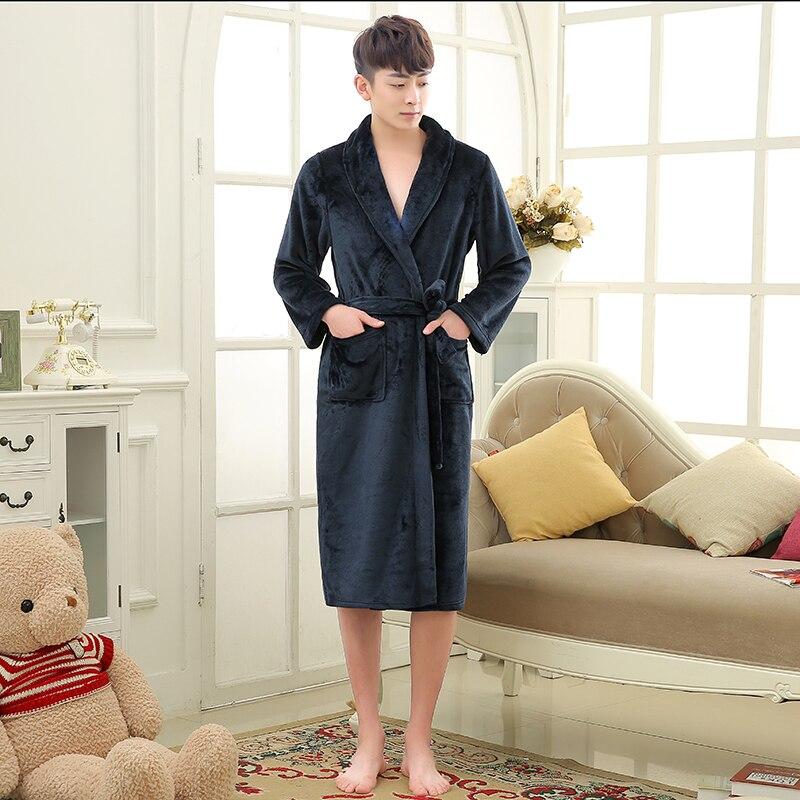 Bathrobe Night-Dressing-Gown Mens Kimono Flannel Luxury Silk Male Winter Women Long Lovers gown