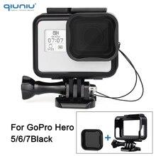 QIUNIU القياسية إطار واقية الإسكان مع ND8 عدسة تصفية ل GoPro بطل 7 6 5 الأسود ل الذهاب برو 7 جبل اكسسوارات