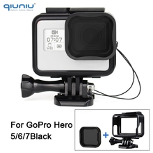 Qiuniu padrão moldura protetora caso da carcaça com filtro de lente nd8 para gopro hero 7 6 5 preto para go pro 7 montagem acessórios