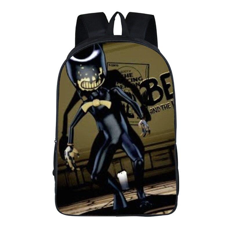16 Inch Bendy And The Ink Machine Backpack Boys Girls Cartoon Children Backpacks Famous Game Kids School Bags Bookbag Backpack