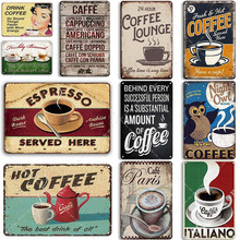 Coffee Tin Sign Vintage Metal Sign Plaque Metal Vintage Wall Decor for Kitchen Coffee Bar Cafe Retro Metal Posters Iron Painting