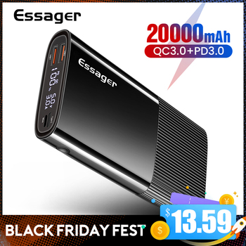Essager Power Bank 20000mAh USB Type C PD QC 3.0 Powerbank Portable External Battery Pack Charger For Xiaomi 20000 mAh Poverbank 20000mah power bank for xiaomi iphone portable powerbank 20000 mah mirror screen usb charger mobile external battery pack